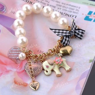 Lovely Elephant Faux Pearl Bow Heart Dangle Beads Charms Bracelet