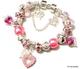 Pretty Pink Hearts Childrens Child Girls Charm Bead European Bracelet