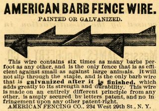 ad american barb wire fence fencing agriculture original advertising