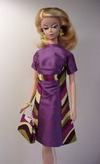 Handmade Dress For Silkstone Fashion Model Barbie (eggplant )