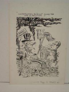 1970 Jerry Fearing St Paul Dispatch War on Pollution Original Artwork