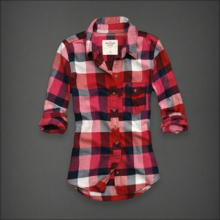 Abercrombie Women Red Pink Navy White Check Flannel Button Down Shirt