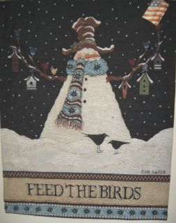 Feed the Birds Jacquard Tapestry Wall Hanging Snowman Birdhouse Made