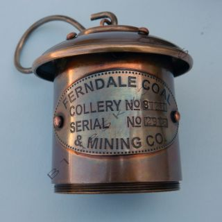 GREAT BRASS MINER LAMP, BRASS FERNDALE COAL MINING MINER LAMP