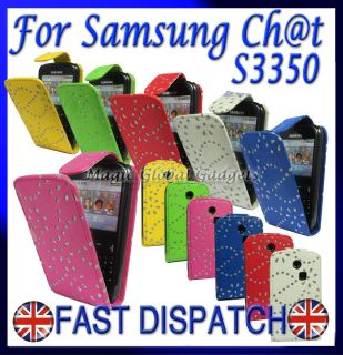 New Diamond Leather Flip Case for Samsung Chat CH T S3350