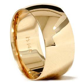 Gold Mens High Polished Comfort Fit Wedding Ring Band 4 12