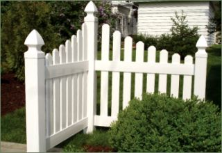 New Dura Trel White Vinyl Corner Picket Fence Outside Yard Street Made