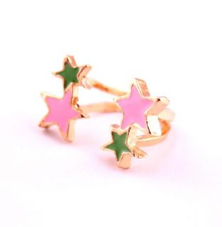 Fashion Gold Plated Color Pink/Green Enamel Five Points Ring Size 5