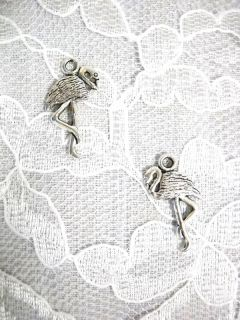 New Flamingo Bird Tibetan Silver Charm Pierced Earrings
