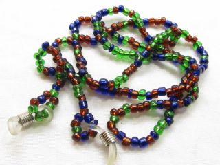 Vintage Blue Green Brown Glass Eyeglass Holder Necklace