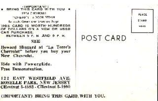 1954 One Fifty Chevrolet 4 Door Sedan Postcard