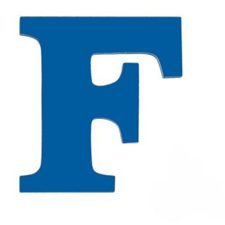 8 inch Wall Hanging Wood Letter F Blue