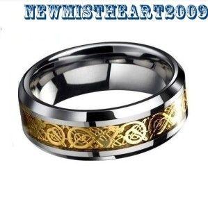 Carbide Gold Laser Dragon Figure Celtic Wedding Ring Size 8