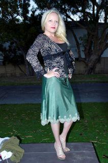 Ann Ferriday Green Satin Embroidered Skirt