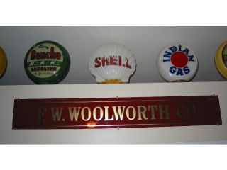 RARE 1930s F w Woolworth Reverse Glass 5 10 Department Store Sign No