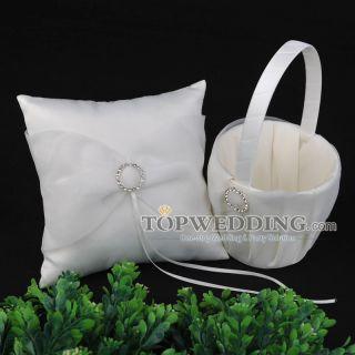 Rhinestone Satin Organza Flower Girl Basket Ring Bearer Pillow Set in