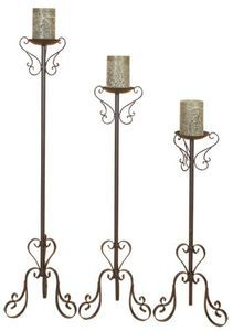Wrought Iron Floor Candle Holders Set Tall Standing New