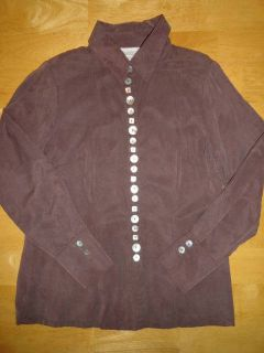 SOFT SURROUNDINGS Shirt Blouse Top Pretty Mixed Shape Size MOP Buttons