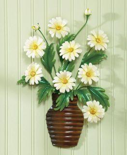 Green Yellow Daisy Flower Basket Vase Bouquet Metal 3D Wall Art Decor