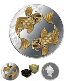 2012 Feng Shui Koi   1oz Silver Coin Set with wonderful presentation