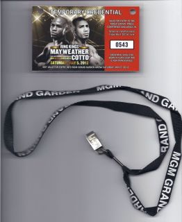 Floyd MAYWEATHER Miguel Cotto Boxing Credential MGM Grand