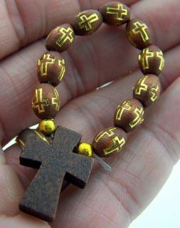 Round Brown Wood Bead Tau Cross Finger Penance Rosary Ring