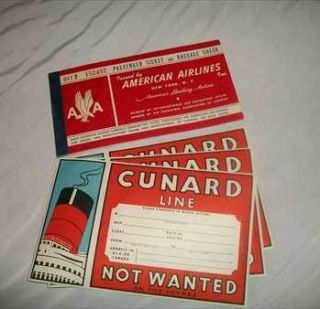 1950s Travel Combo (American Airline Tickets & Cunard Baggage Labels