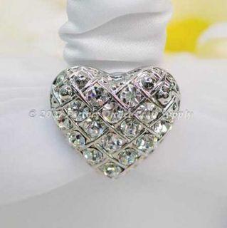 Heart Rhinestone Wedding Set Ring Pillow Garter Basket