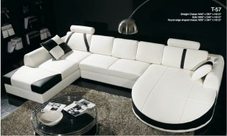 Modern Contemporary White & Black Leather Sectional Sofa Dual Chaise T