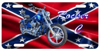 Your Harley Davidson and text on a Custom made Rebel Flag License