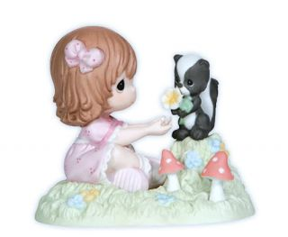 New Precious Moments Figurine Skunk Friends Girl Statue Flower