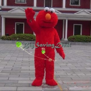 Street Elmo Adult Mascot Costume Red Monster Fancy Party Dress