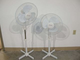 TWO NEW 16 3 SPEED OSCILLATING FLOOR STAND FANS w/ NIGHT LIGHT FREE