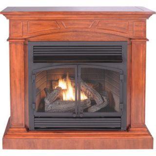Cherry Full Sized Corner Fireplace Dual Fuel Gas Logs