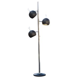 Mid Century Modern Three Globe Adjustable Black Floor Lamp