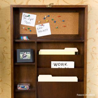 Wood Wall Mount Fold Out Convertible Desk Walnut
