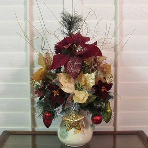 HOLIDAY,WINTER,PITCHER, SILK,FLOWER,ARRANGEMENT,CENTERPIECE,POINSETTIA