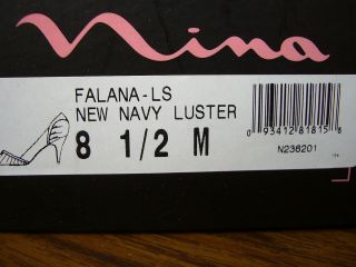 Nina Falana LS Navy Satin New Womens Classic Open Toe Pumps Shoes US