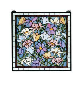 Stained Glass Window Panel Meyda Tiffany Flowers Pattern 22