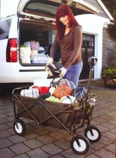 New Collapsible Folding Wagon Utility Cart with Cover 100LB Capacity