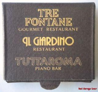 Sheraton Roma Tre Fontane Rome Italy Matchbook Drawer Italian