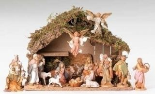 16 PIECE NATIVITY SET WITH 5 FIGURES AND ITALIAN STABLE FONTANINI