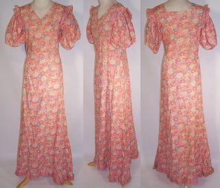 Vintage 1930s Pink Floral Daisy Print Cotton Flour Feed Sack Bias Cut
