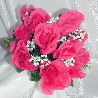 Roses Watermelon Fuchsia Pink Silk Wedding Flowers Centerpieces