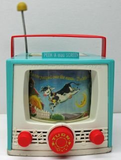 vintage fisher price music box tv toy 196 double screen hey diddle