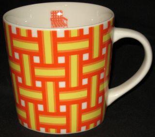 Starbucks Coffee Mug Orange Yellow Plaid Lawn Chair 16 Oz