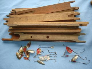 Vintage Hand Made Wood Ice Fishing Drop Lines Sinkers Swivels Spinners