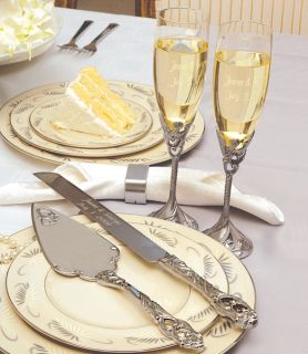 Wedding Reception Table Decoration Flutes & Cake Knife Serving Set