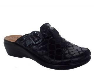 Fly Flot Nero Womens Black Leather Casual Comfort Italy Clog Shoes