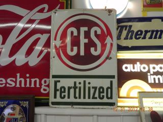 VINTAGE CFS FARM SIGN FERTILIZER FEED SEED DAIRY JOHN DEERE IH BORDANS